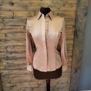 NY Co Eva Mendes Satin Long sleeve Grey Top